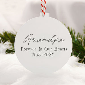 Forever In Our Hearts Memory Ornament