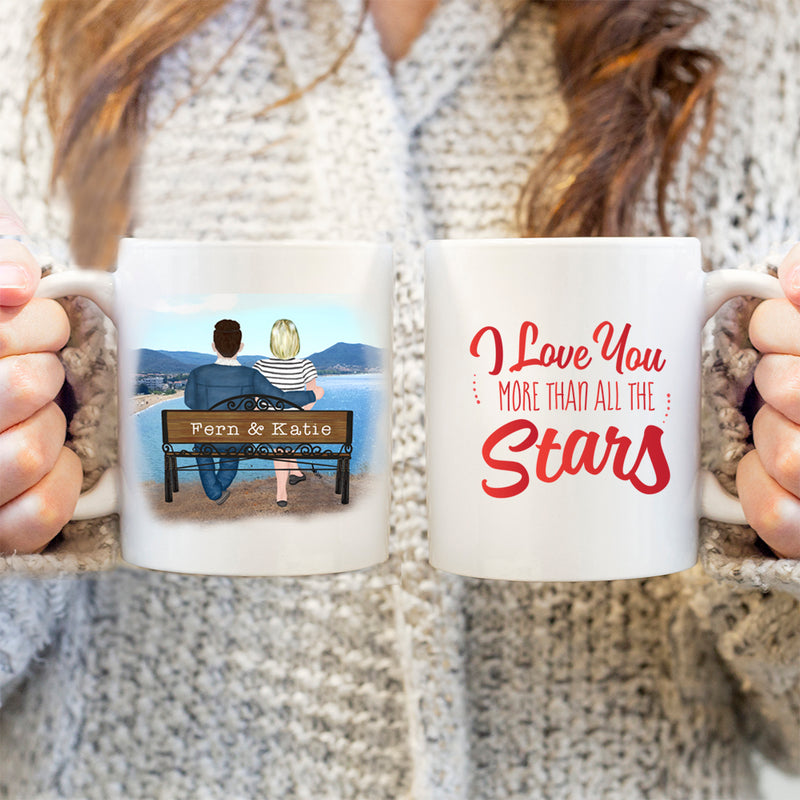 Gift For Boyfriend - Personalised Valentines Mug - I Love You More Than All The Stars