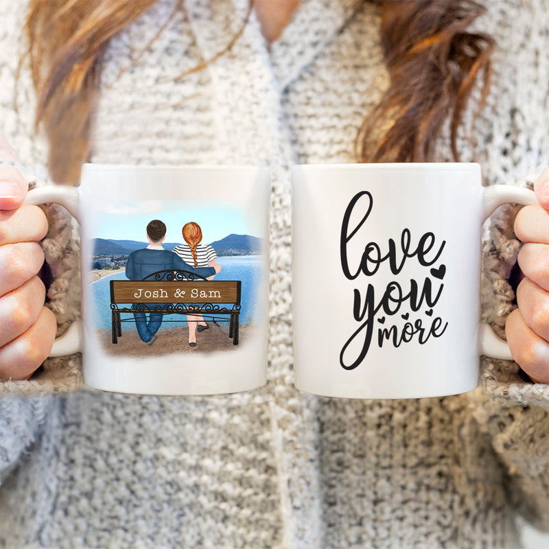 Happy Couple - Valentines Gift For Her - Personalised Mug - Love You More