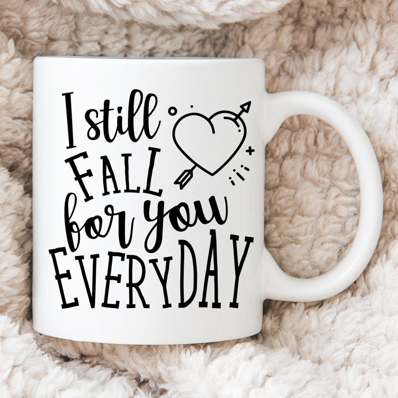 Personalised Couples Mugs - Valentines Gift - I Still Fall For You Every Day