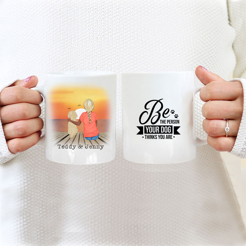 TheGreenDovecote_ Personalised Dog Mug - Girl And Dog - Be The Person Your Dog Thinks You Are