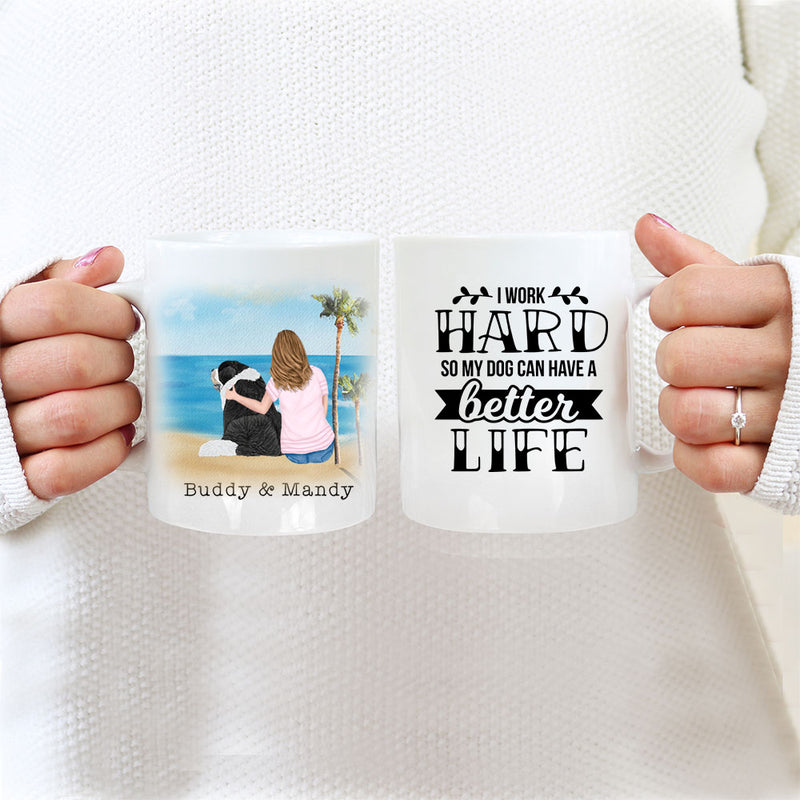 TheGreenDovecote_Personalised Dog Mug - Girl And Dog - I Work Hard So My Dog Can Have A Better Life