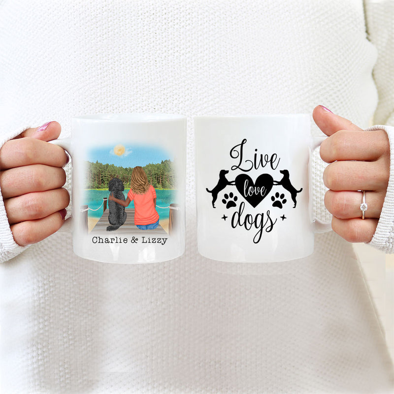 TheGreenDovecote_Personalised Dog Mug - Girl And Dog - Live Love Dogs