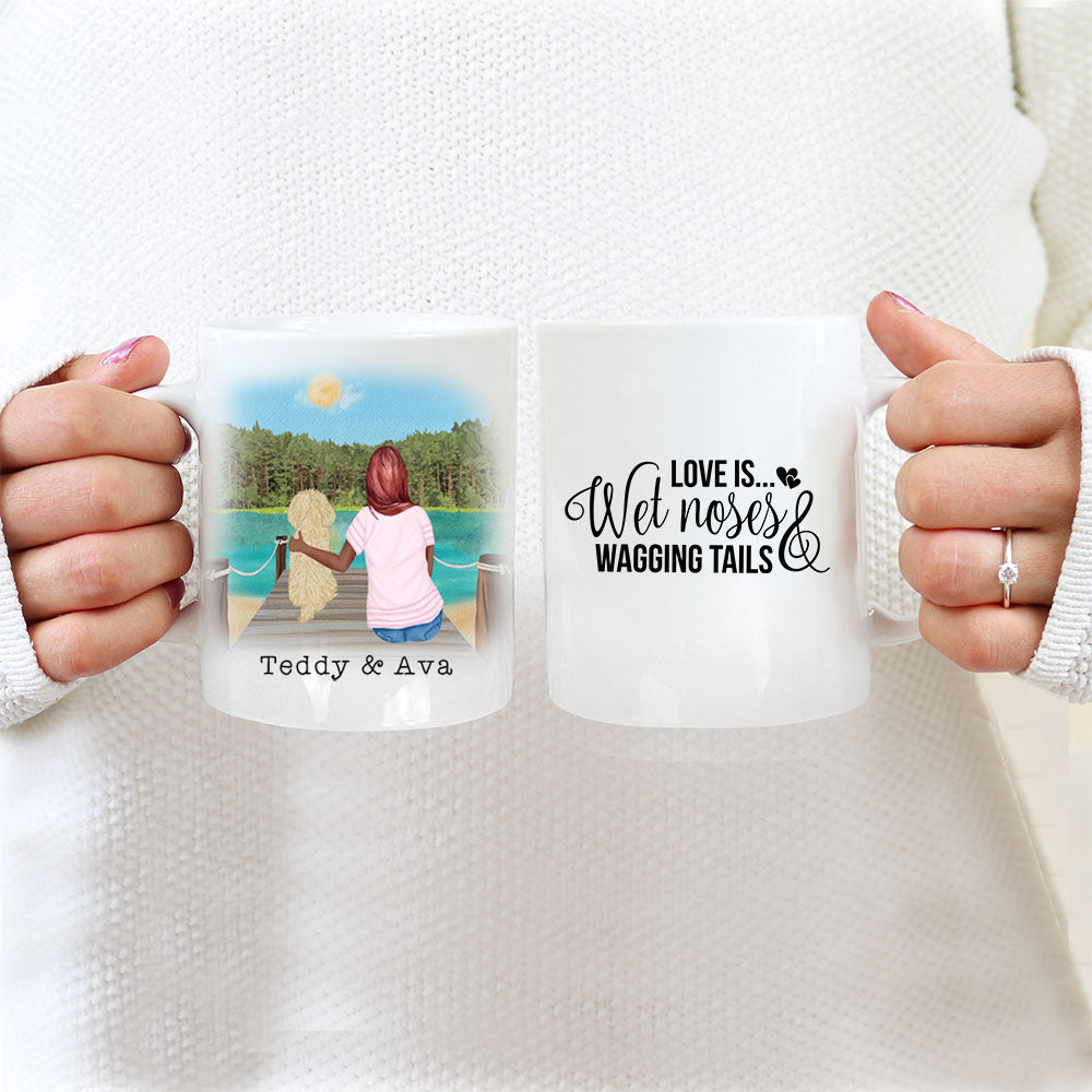 TheGreenDovecote_ Personalised Dog Mug - Girl And Dog - Love Is Wet Noses & Wagging Tails