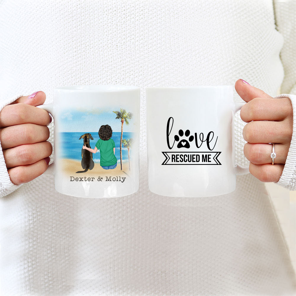 TheGreenDovecote_Personalised Dog Mug - Girl And Dog - Love Rescued Me