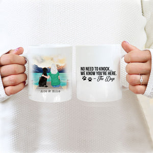 TheGreenDovecote_Personalised Dog Mug - Girl And Dog - No Need To Knock...We Know You're Here - The Dogs