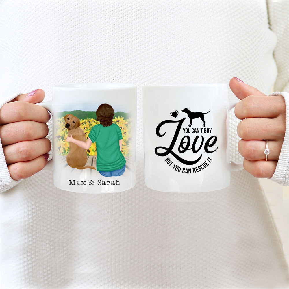 Personalised Dog Mug - You Can't Buy Love But You Can Rescue It