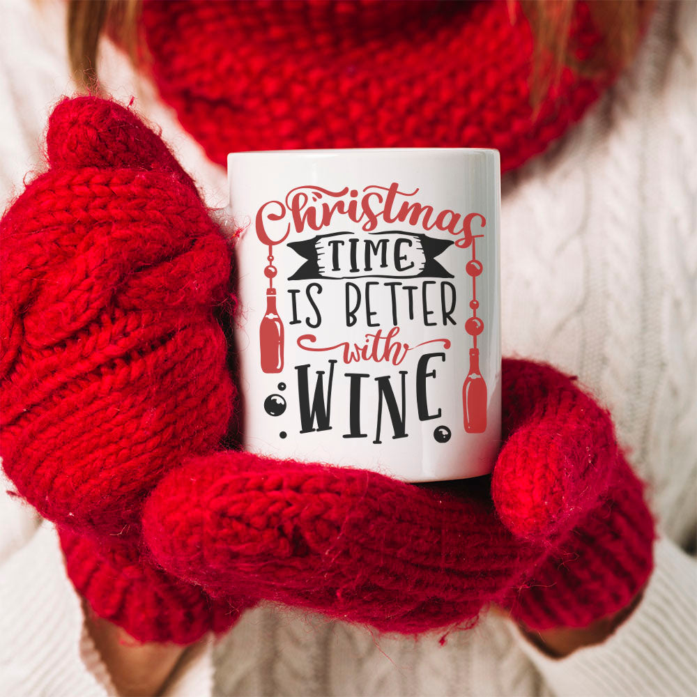 Personalised Mug - Best Friend Christmas Gift. Christmas Is Much Better With Wine