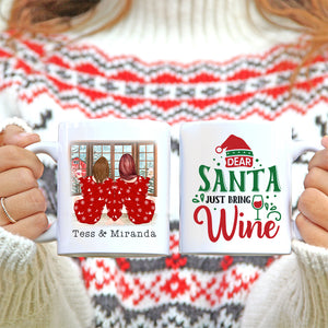 Personalised Mug - Best Friend Christmas Gift. Dear Santa Just Bring Wine