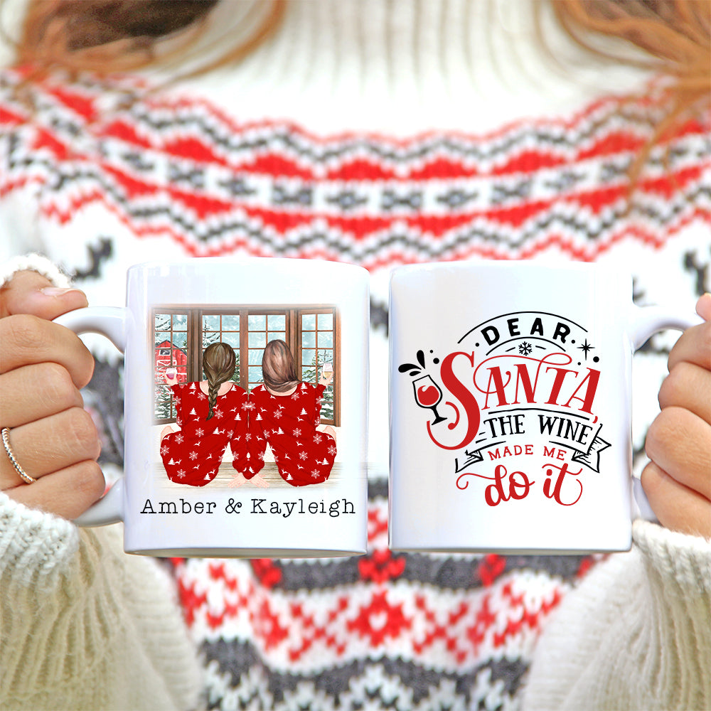 Personalised Mug - Best Friend Christmas Gift. Dear Santa the wine made me do it