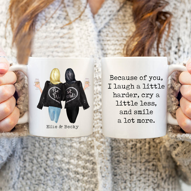 TheGreenDovecote-Personalised Mug - Best Friend Gift. Because Of You I Laugh A Little Harder, Cry A Little Less And Smile A Little More