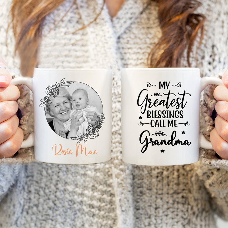 Personalised Mug - Gift For Mum. My Greatest Blessings Call Me Grandma