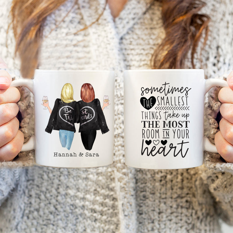 TheGreenDovecote-Personalised Mug. Best Friends. Sometimes The Smallest Things Taken Up The Most Room In Your Heart