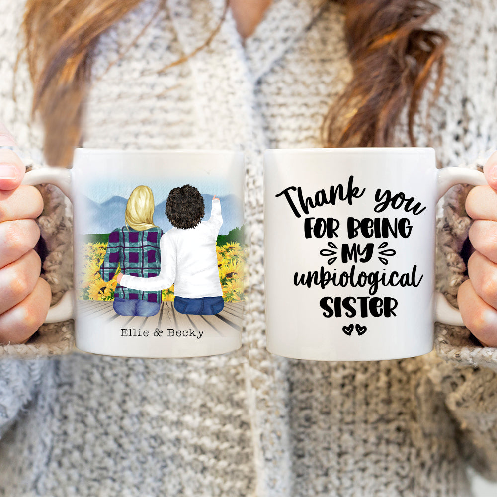 TheGreenDovecote-Personalised Mug. Best Friends. Thank You For Being My Unbiological Sister