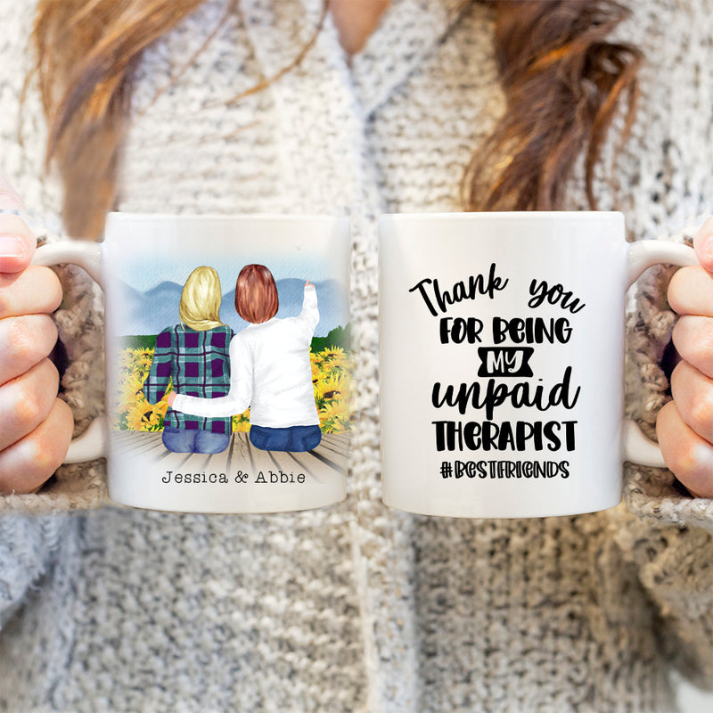 TheGreenDovecote-Personalised Mug. Best Friends. Thank You For Being My Unpaid Therapist