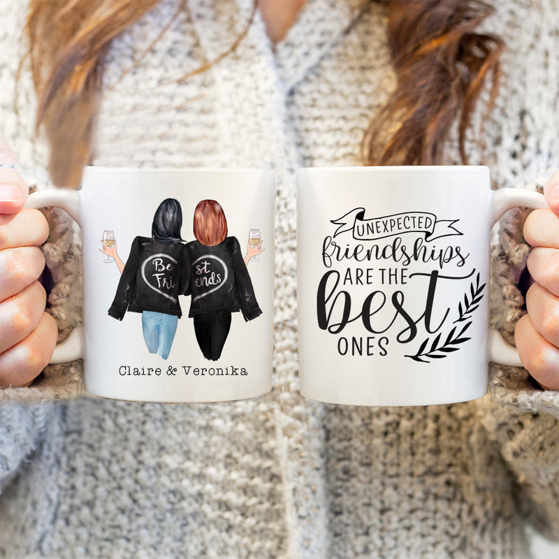 TheGreenDovecote-Personalised Mug. Best Friends. Unexpected Friendships Are The Best Ones