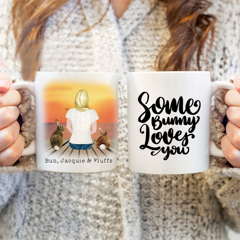 TheGreenDovecote-Personalised Mug. Girl And Rabbit - Some Bunny Loves You