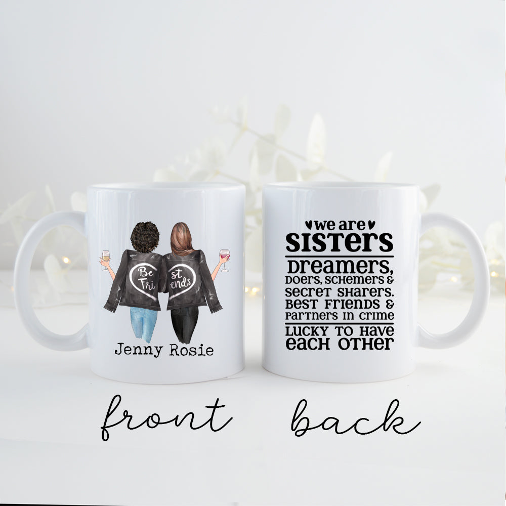 TheGreenDovecote _ Personalised Mug - Two Sisters. We Are Sisters, Dreamers, Doers, Schemers...