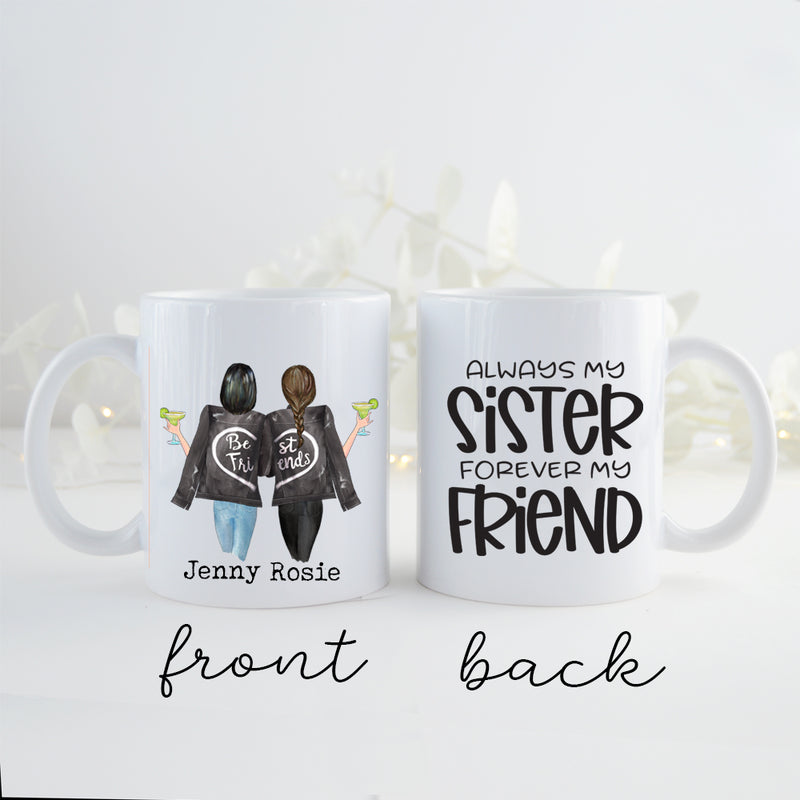 TheGreenDovecote _ Personalised Mug - Two Sisters. Always My Sister Forever My Friend