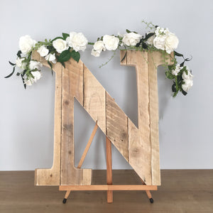 Rustic Wood Letters Used As A Wedding Guest Book