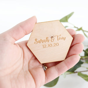 Hexagon Wooden Save The Date