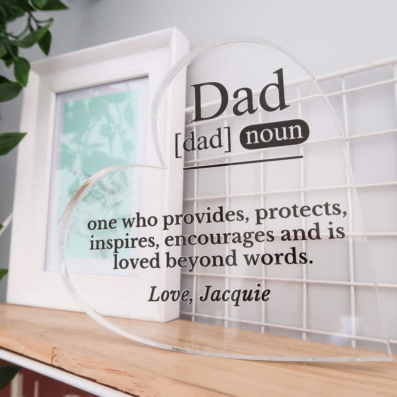 Fathers Day Heart /  Dad Definition Meaning / One Who Provides, Protects & InspiresFathers Day Heart -  Dad Definition - One Who Provides, Protects & Inspires