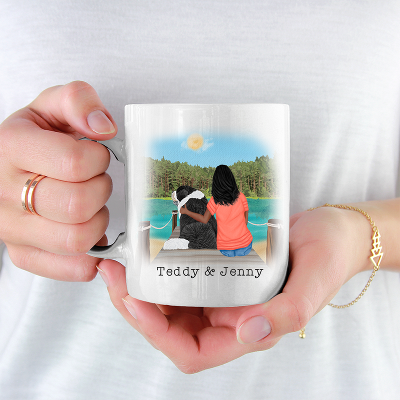 Personalised Dog Mug - Girl And Dog - I Work Hard So My Dog Can Have A Better Life