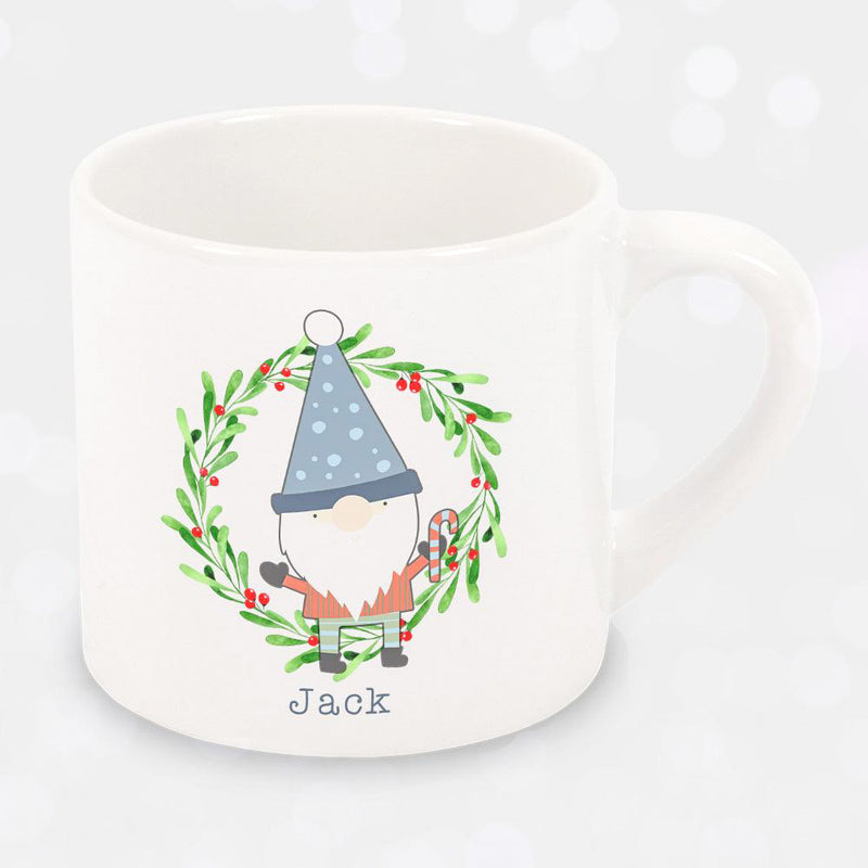 Personalised Christmas Childrens Gnomes Mug - Gnome And Wreath