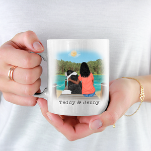 Personalised Dog Mug - Girl And Dog - No Need To Knock...We Know You're Here - The Dogs