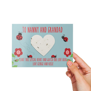Personalised Flower Heart - Ladybird Design - Watch Our Love
