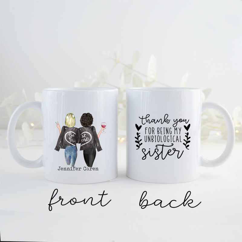 TheGreenDovecote_ Personalised Mug. Best Friends. Thank You For Being My Unbiological Sister