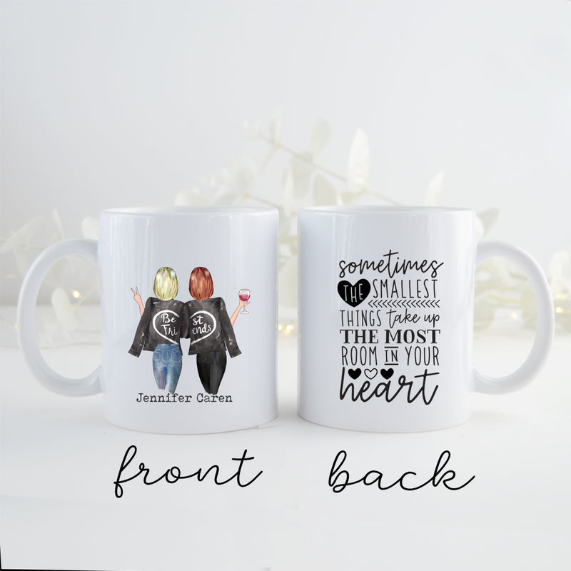 TheGreenDovecote _ Personalised Mug. Best Friends. Sometimes The Smallest Things Taken Up The Most Room In Your Heart