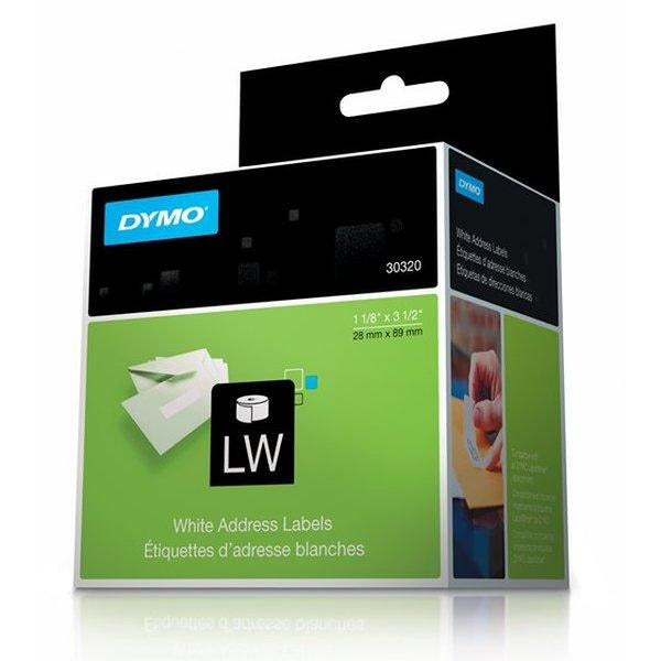 "Brand New Original Dymo 30320 Self-Adhesive Address Labels Black on White 1-1/8"" x 3-1/2"" (260 Per Roll)-Ink Toner Shop"