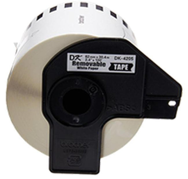 Brother DK-4205 1 Roll of White Label Tape / 2.4 in x 100 ft (62mm x 30.48m) - Continuous paper cartridge-Ink Toner Shop