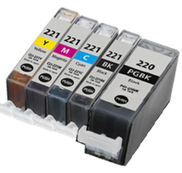 CANON PGI-220BK + CLI-221 SET INK / INKJET Cartridge Set (5 - Total cartridgesWith Chip)-Ink Toner Shop