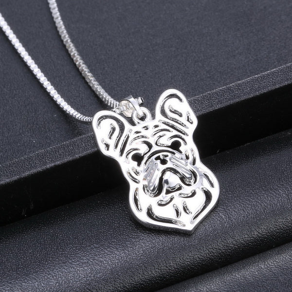 Cute French Bulldog Silver Necklace