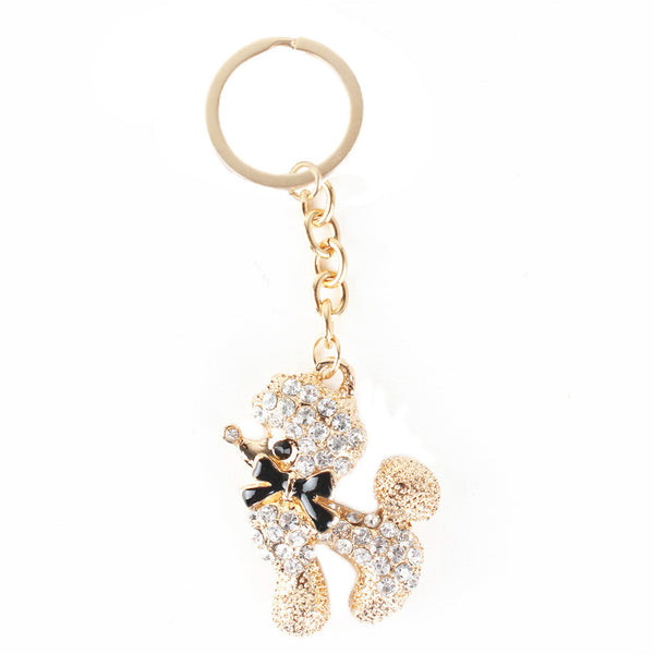 Poodle Dog Butterfly Cute Crystal Charm Keyring