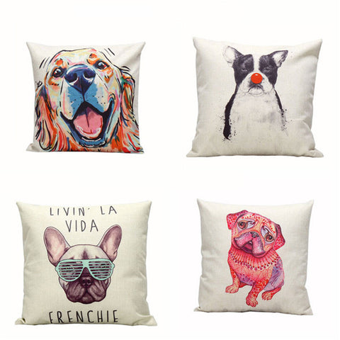 Cute Dog Decor Printed Cushion Cover