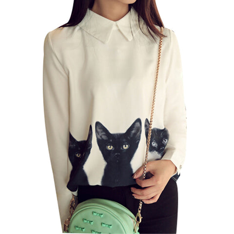 Casual White Cat Shirt