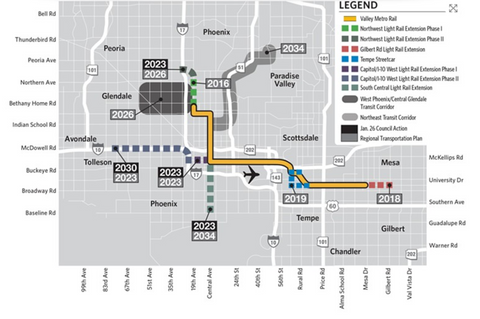 Light rail expansion map