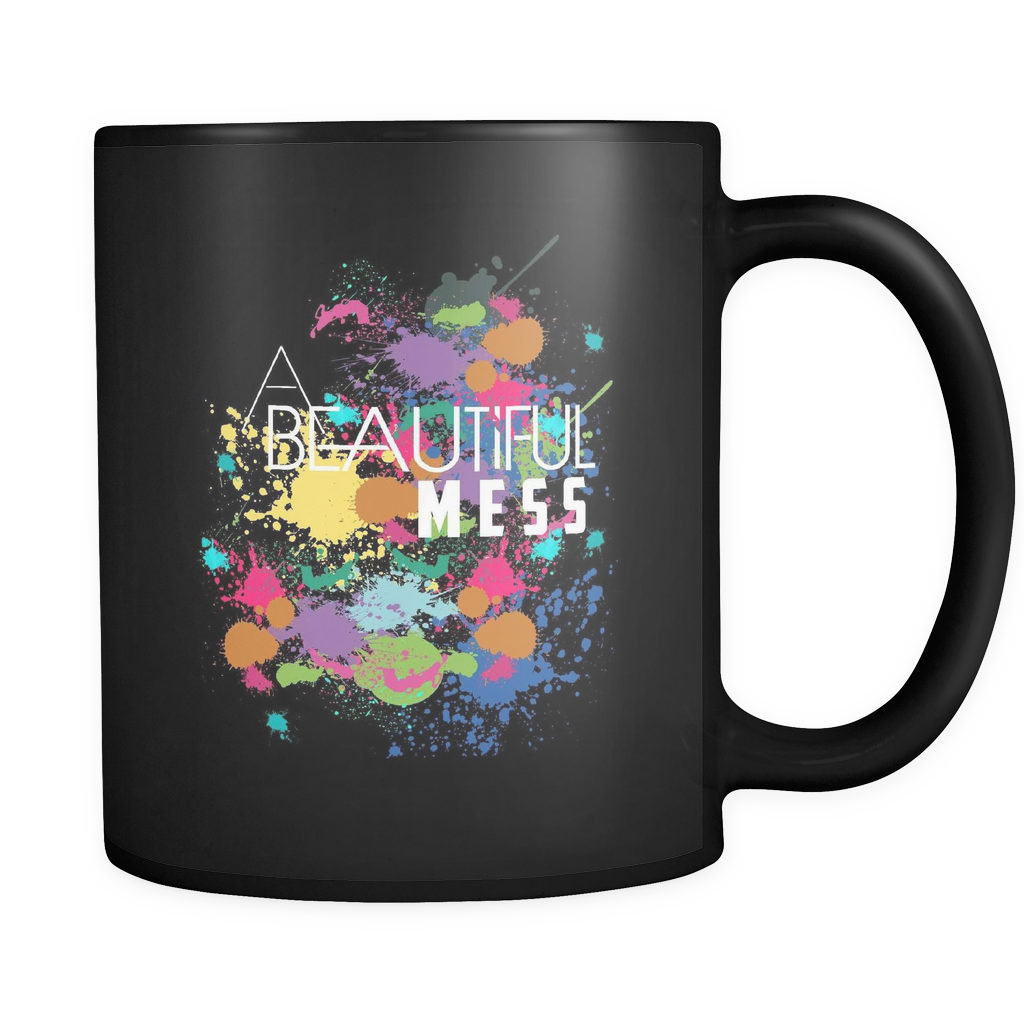 A Beautiful Mess Black Mug