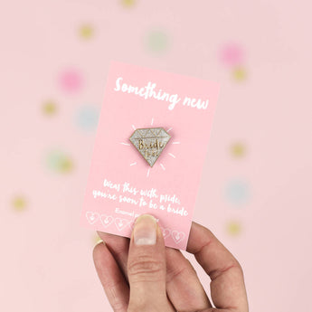 'Bride To Be' Silver And Gold Diamond Enamel Pin Badge