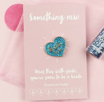 'Bride To Be' Glitter Blue Heart Enamel Pin Badge