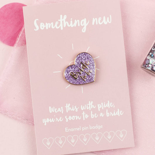 'Bride To Be' Glitter Pink Heart Enamel Pin Badge