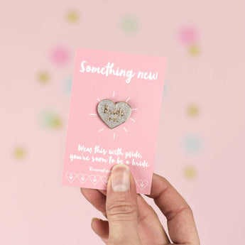 'Bride To Be' Silver Heart Enamel Pin Badge