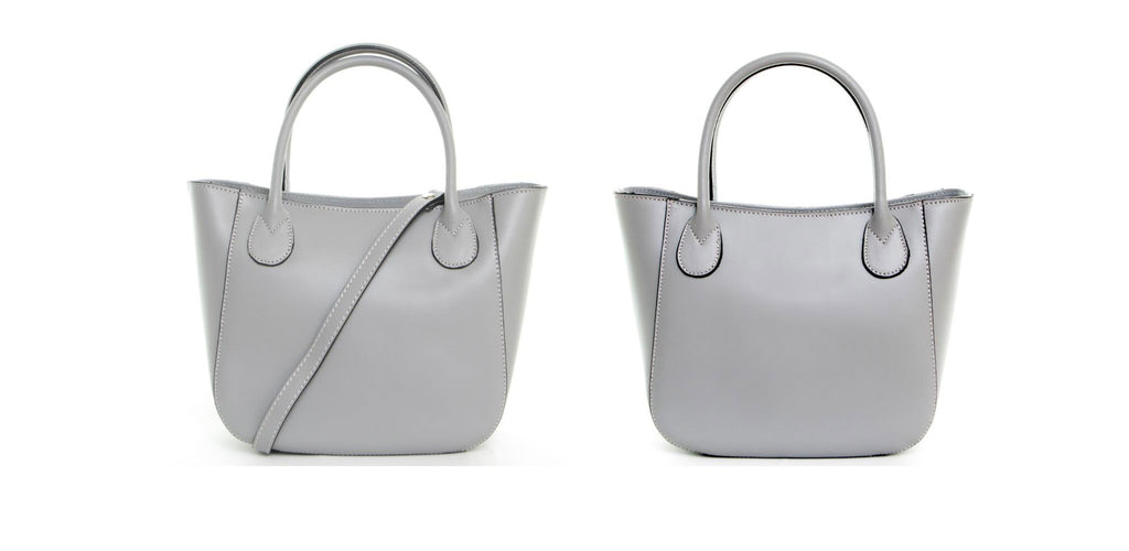 Light Grey Real Leather Mini Grab Bag