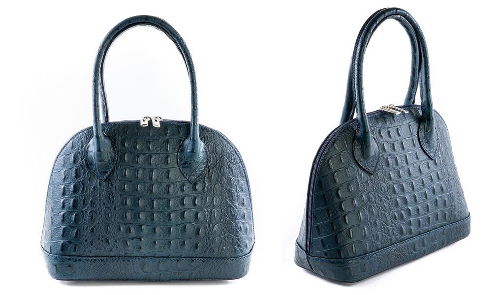 Navy Croc Real Leather Grab Bag