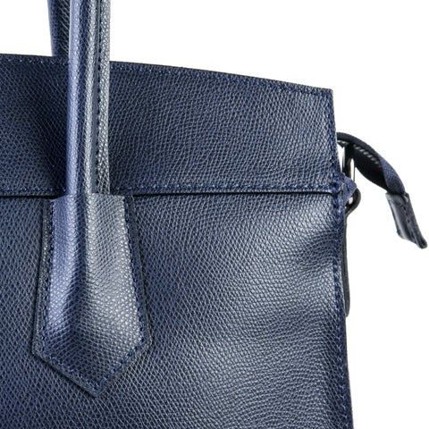 Bexley Navy Blue Real Leather Shoulder Work Bag by Amilu
