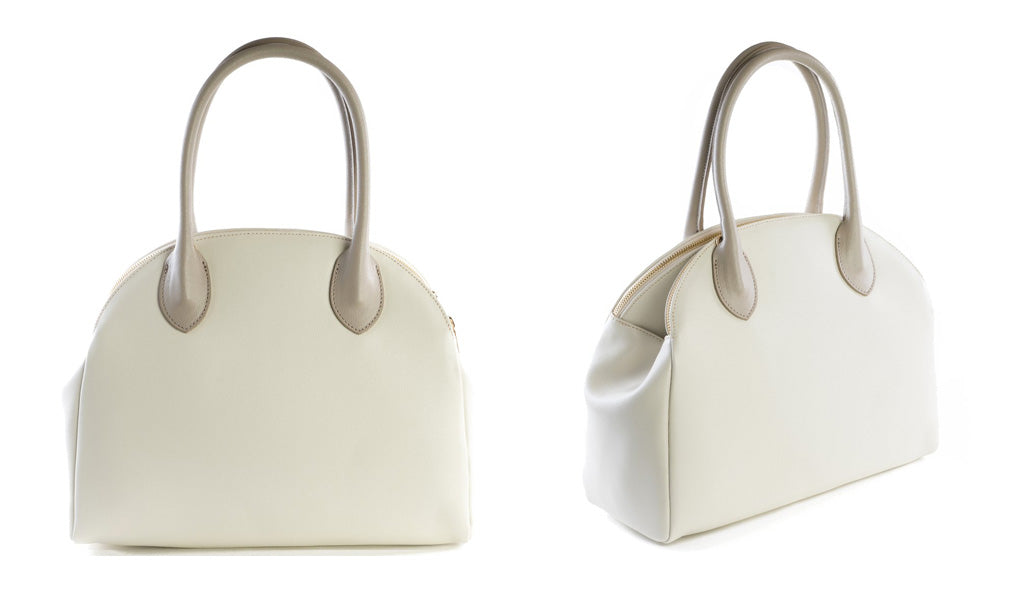 Taupe and cream leather bag by Amilu