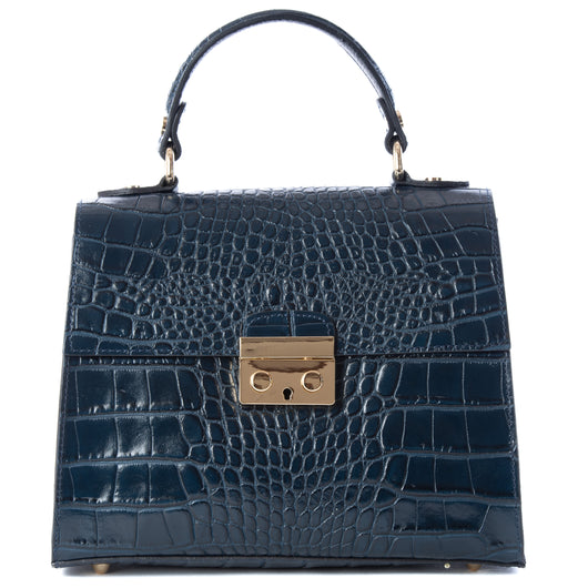 Navy Blue Real Italian Leather Croc Satchel Bag